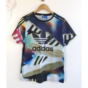 Adidas Colorful Shoe Print Short Sleeve T-shirt